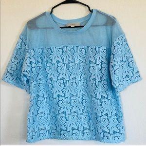 Loft blue lace mesh top size large